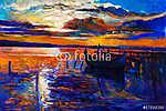 Az óceán és a naplemente (id: 4384) többrészes vászonkép