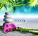homok, orchidea és masszázskövek a zen kertben (id: 4584)