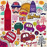 vektoros készlet londoni szimbólumok (id: 4684) vászonkép óra
