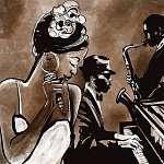 Jazz együttes énekes, szaxofon és zongora - illusztráció (id: 5084) falikép keretezve