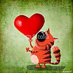 Vörös macska szívvel. (id: 5284) vászonkép
