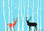 Rénszarvas karácsonyi kártya, vektor (id: 7084)
