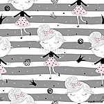 Aranyos kézzel rajzolt csinos kislány vektor zökkenőmentes minta (id: 11385) tapéta