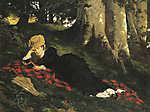 Benczúr Gyula: Olvasó nő erdőben (1875) (id: 20085) falikép keretezve