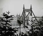 Erzsébet híd, szemben a pesti hídfőnél a Belvárosi templom (1904) (id: 20185) tapéta