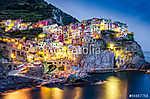 Scenic éjszakai kilátás a színes falu Manarola a Cinque Terre (id: 4285) vászonkép óra