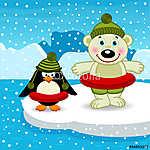 a jegesmedve és a pingvin úszni - vektoros illusztráció, eps (id: 4485) poszter