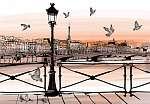 Napnyugta a Seine-folyó partján, a Pont des Arts-tól Párizsban (id: 5085)
