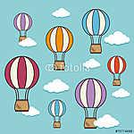 Légballon design felett cloudscape háttérvektor illusztráció (id: 6485) poszter
