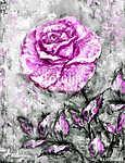 olajfestmény, rózsa vászonra, kézzel rajzolt (id: 10286) vászonkép