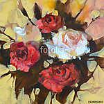 Fehér és vörös rózsa, kézzel készített festés (id: 10886) falikép keretezve