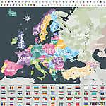 Európa térképe a régiók határain át színezett országokkal. Zászl (id: 11986)
