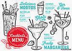 Cocktail bar menu. Vector drinks flyer for restaurant and cafe.  (id: 13686) falikép keretezve