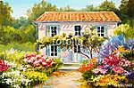 Oil painting on canvas of a beautiful house and flowers, abstrac (id: 13886) többrészes vászonkép