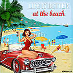 Vintage vacation background with pin-up girl,  retro car and people on the beach (id: 19186) falikép keretezve