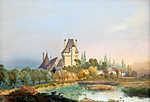 Id. Markó Károly : Vár a tó felett (id: 19886) falikép keretezve