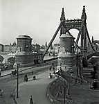 Erzsébet híd budai hídfő (1912) (id: 20186) falikép keretezve