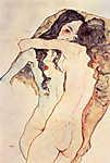 Egon Schiele: Ölelkező női pár - színverzió 1. (id: 3986) többrészes vászonkép