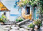 Olajfestmény, akvarell - virágok a ház közelében, görög utca (id: 4886) vászonkép