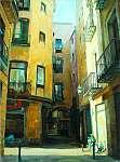 Barcelona ősi gótikus negyede, festmény, illusztráció (id: 4986) többrészes vászonkép