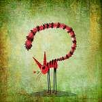 Csíkos cica kisvirággal a szájban (id: 5286) vászonkép óra