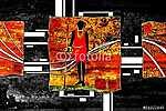 afro motívum etnikai retro vintage (id: 7286) vászonkép óra