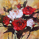 Fehér és vörös rózsa, kézzel készített festés (id: 10887) vászonkép
