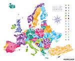 Európa térkép, amelyen a régiók határai vannak.  (id: 11987)