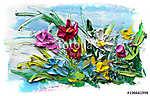 Abstract oil painting of  flower. (id: 16087) falikép keretezve