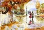 Paul Cézanne: Pár az őszi parkban (id: 16187) falikép keretezve