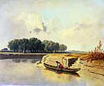 Pierre Auguste Renoir: Tájkép folyóval és csónakkal (id: 19887) vászonkép óra