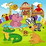 állatkert állatok - vektoros illusztráció, eps (id: 4487) többrészes vászonkép