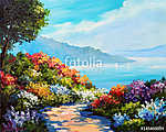 oil painting, house near the sea, sea coast, colorful flowers, s (id: 13888) tapéta