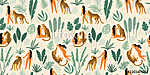 Vector seamless pattern with women, leopards and tropical leaves. vászonkép, poszter vagy falikép