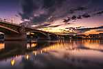 Margit-híd, Budapest naplementében (id: 17088) vászonkép óra