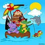 állatok kalózok - vektoros illusztráció, eps (id: 4488) többrészes vászonkép