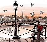 A harmonika a Pont des Arts-ben Párizsban játszik (id: 5088) vászonkép