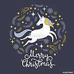 Karácsonyi illusztráció egyszarvú, vidám karácsonyt (id: 12289) vászonkép