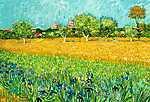 Vincent Van Gogh: Arles látképe íriszekkel az előtérben (szín. részlet, 1888) (id: 3789) tapéta