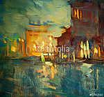 éjszaka Velence, olajfestmény vászonra, illusztráció (id: 4989) poszter