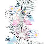 Az akvarell nyári minta. Absztrakt trópusi nyomtatás geometriáva (id: 11590) vászonkép óra