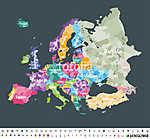 Európa térkép, amelyen a régiók határai vannak.  (id: 11990)