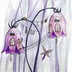 Tündérek virág házak. Akvarell illusztráció. (id: 12390)