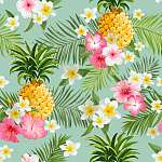 Tropical Flowers and Pineapples Background - Vintage Seamless Pa vászonkép, poszter vagy falikép