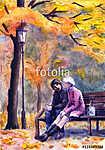 Akvarell táj egy pár ül egy padon (id: 16190)