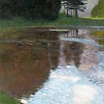 Gustav Klimt: Reggel a tónál, az Egelsee (színverzió 1.) (id: 19790) többrészes vászonkép