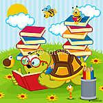 teknős olvasási könyv - vektoros illusztráció, eps (id: 4490) poszter