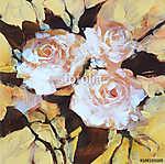 Fehér rózsák, kézzel készített festészet (id: 10891) vászonkép