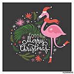 Karácsonyi illusztráció, rózsaszín flamingó (id: 12291) vászonkép