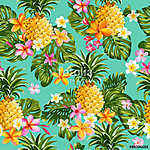 Pinapples and Tropical Flowers Background -Vintage Seamless Patt vászonkép, poszter vagy falikép